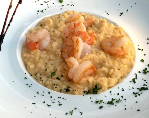 Risotto aux gambas, curry rouge
