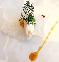 Ecume de chou-fleur sur tartare de poisson fumé